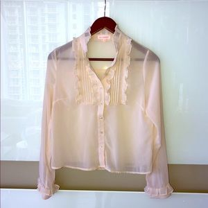 re:named Sheer Pink Button Down Blouse Small